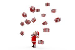 3d santa claus many gifts concept Stock Image