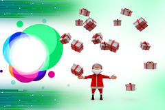 3d santa claus with many gifts illustration Stock Image