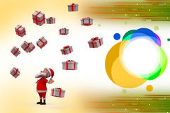 3d santa claus with many gifts illustration Stock Images