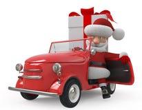 3d Santa Claus med bilen Royaltyfri Bild
