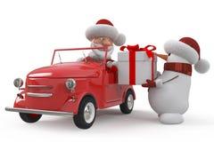 3d Santa Claus med bilen Arkivfoton