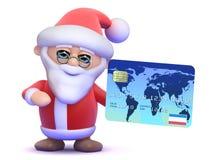 3d Santa Claus med en kreditkort Royaltyfri Fotografi