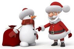 3d Santa Claus med en snögubbe Arkivfoto