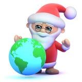3d Santa Claus med ett jordklot av världen Arkivfoto
