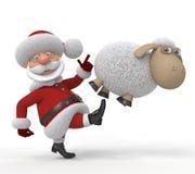 3d Santa Claus med ett lamm Arkivfoton