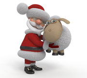 3d Santa Claus med ett lamm Royaltyfria Bilder