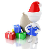 3d Santa Claus med påse- och gåvaaskar Julfilial och klockor Royaltyfria Foton