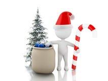 3d Santa Claus med påsen av gåvor, julgodisen och trädet Chri Vektor Illustrationer