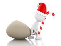 3d Santa Claus med påsen av gåvor och julgodisen Jul Royaltyfria Bilder
