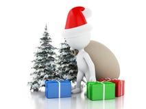 3d Santa Claus med påsen, gåvor och julgranen i ny snö Stock Illustrationer