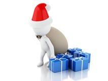 3d Santa Claus med påsen och gåvor Julfilial och klockor Arkivbild