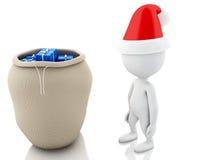 3d Santa Claus med påsen som är full av gåvor Julfilial och klockor Royaltyfri Foto