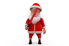 3d Santa Claus med svärdbegrepp Arkivbild