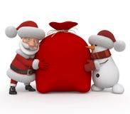3d Santa Claus met een sneeuwman Stock Afbeeldingen