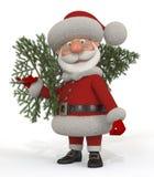 3d Santa Claus met een spar Royalty-vrije Stock Afbeeldingen