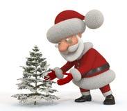 3d Santa Claus met een spar Stock Foto's