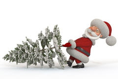 3d Santa Claus met een spar Royalty-vrije Stock Fotografie