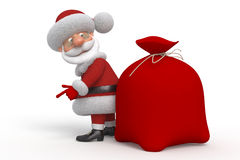 3d Santa Claus met een zak Stock Foto's