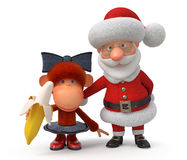 3d Santa Claus with the monkey Stock Images