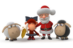3d Santa Claus with the monkey and lambs Royalty Free Stock Photography