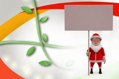 3d santa claus with notice board  illustration Stock Photography