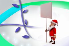 3d santa claus with notice board  illustration Royalty Free Stock Photography