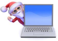 3d Santa Claus ondeggia da dietro un pc del computer portatile Immagine Stock Libera da Diritti