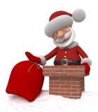 3d Santa Claus op een dak Stock Afbeelding