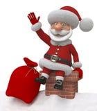 3d Santa Claus op een dak Stock Afbeeldingen