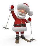 3d Santa Claus op skis Stock Afbeeldingen
