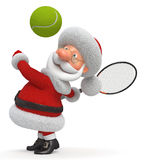 3d Santa Claus plays tennis Stock Photos