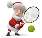 3d Santa Claus plays tennis Royalty Free Stock Image