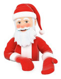 3D Santa Claus pointing down. Blank space. 3d christmas people illustration. Santa Claus pointing down. Blank space. White background Royalty Free Stock Photo