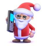 3d Santa Claus pratar på hans mobiltelefon Fotografering för Bildbyråer