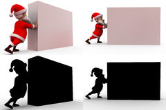 3d santa claus push concept  collections with alpha and shadow channel Stock Photography