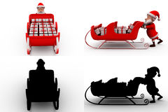 3d santa claus push sleigh concept collections with alpha and shadow channel Stock Image