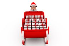 3d santa claus push sleigh concept Royalty Free Stock Photos