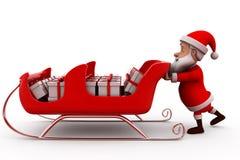 3d santa claus push sleigh concept Stock Images