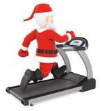 3D Santa Claus que entrena difícilmente en una rueda de ardilla Imagen de archivo libre de regalías