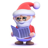 3d Santa Claus is reading the newspaper Stock Photos
