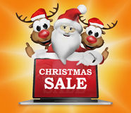 3d Santa Claus Reindeers Electronics Christmas Sale Royalty-vrije Stock Foto