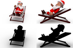 3d santa claus rest concept  collections with alpha and shadow channel Royalty Free Stock Photos