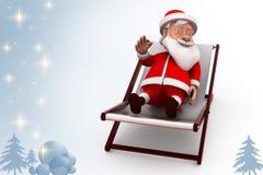 3d santa claus rest illustration Royalty Free Stock Photos