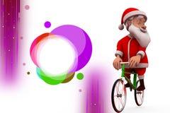3d santa claus ride cycle illustration Royalty Free Stock Image