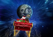 3D Santa claus riding reindeer sleigh towards globe. Against digitally generated sky Stock Photos