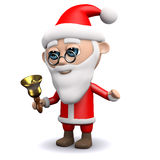 3d Santa Claus ringer hans klocka stock illustrationer