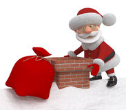 3d Santa Claus on a roof Stock Photos