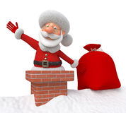 3d Santa Claus on a roof Royalty Free Stock Images