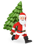 3D Santa Claus running with a fir tree on back Stock Image