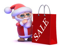 3d Santa Claus sale bag Royalty Free Stock Photo
